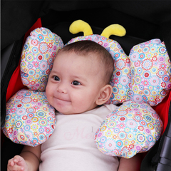 baby stroller anti-flat head styling pillow safety seat headrest travel sleeping baby pillow yellow one size