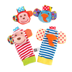 Baby Rattle Wrist Sock Plush Toys Kids Cute Cartoon Animal Early Education Soft Hand Bell Rattle red