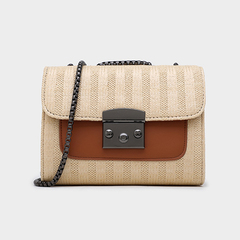 new style Korean version ladies contrast color square bag wild shoulder bag portable Messenger bag brown 19*7*15cm