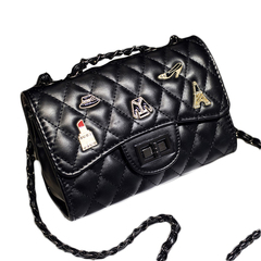 New classic black rhombic chain PU leather bag ladies handbag fashion shoulder messenger bag black 20*14*8cm