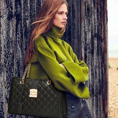 Female travel Tote bag casual rhombic chain single shoulder crossbody bag lock buckle handbag black 35*11*24cm