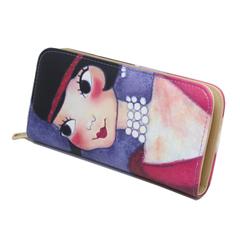 Fashion cartoon cute girl graffiti large capacity multi-function zipper clutch bag long wallet blue
