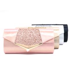 New sequin evening bag simple fashion party clutch bag shoulder ladies solid color Messenger bag pink