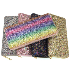 Ladies Fashion Sequin Party Rainbow bag Long Shopping Wallet Simple Clutch bag pink