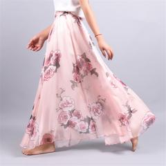 2019 Fashion Beach Skirt Bohemian Half-length Skirt Printed Chiffon Skirt long skirt Pink One Size