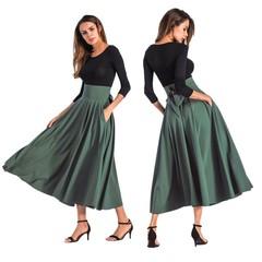 Retro Fashion Women's Skirt Horn Skirt Pocket Tied Bowknot Half-length Skirt Size 4XL green s