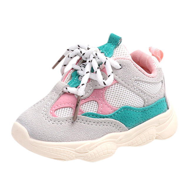 Children's soft bottom color matching sports shoes with shoes mesh breathable sports shoes green 5.5