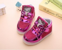 Kids Shoes Children Glowing Sneakers Baby Girls Hello Kitty Shoes LED Light Luminous Shoes  With Bow hot pink 21