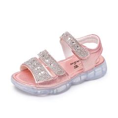 Summer New Kids Princess Sandals Sweet Girls Sandals Children Shoes Soft Bright Drill Sandal pink 27