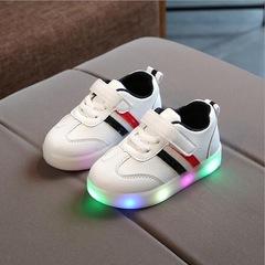 Children Luminous Shoes Boys Girls Stripe Sport Running Shoes Baby LED Lights Fashion Sneakers green Black 21