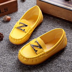 New Bean Shoes for Children and Men, Single Shoes, Parents, Leather Shoes, Lazy Shoes, Baby Shoes Yellow 21