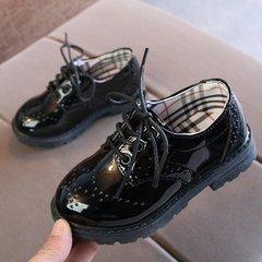 Boy's Leather Shoes Black Britain 2019 New Kids'Soft-soled Princess Girls' Children's Single Shoes black 21