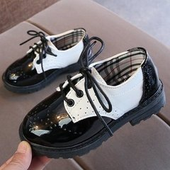 Boy's Leather Shoes Black Britain 2019 New Kids'Soft-soled Princess Girls' Children's Single Shoes white 33
