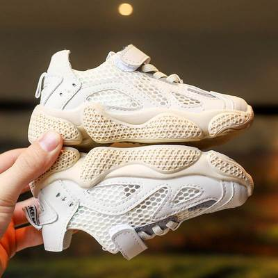 Boy's net shoes breathable mesh 2019 new casual shoes boys'single shoes children's sports shoes Rice white 26