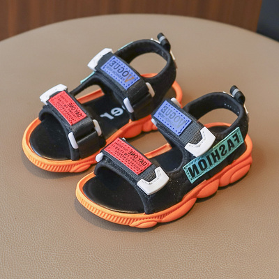 Summer 2019 New Fashion Children's Color Stitching Girls'Sandals, Sports Shoes, Boys' Leisure Shoes black 31
