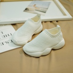 Children's sports shoes Korean version girls'socks, breathable boys' leisure shoes, net shoes white 21