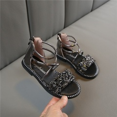Summer 2019 New Korean Style Girls'Bright Drill Open-toed Sandals Flat-soled Student Sandals black 35