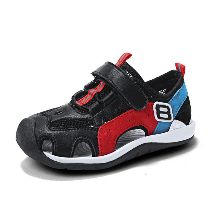 Boys'Baotou Sandals 2019 New Summer Babies and Children's Boys' Soft-soled Beach Shoes black 28