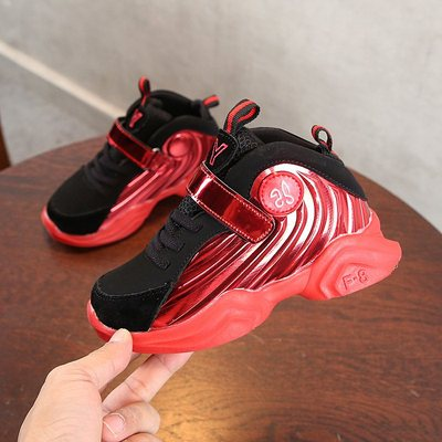 Children's Autumn Sports Shoes Male 2019 New Girl's Korean Edition Running Shoes Red 26