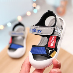 Boy sandals 2019 new 1-3 year old children's beach shoes, slippery Soft Sole Baby girl's head shoes gray 17