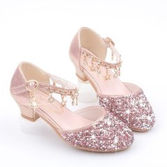 Girls'Leather Shoes 2019 New Princess Shoes Girls' Soft-soled Crystal Shoes Children's Single Shoes pink 28