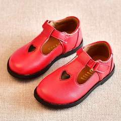 Girls'Leather Shoes Princess Korean Edition Children's Shoes Children's Soft-soled New Single Shoes red 21