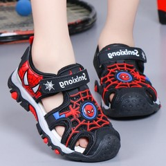 Children sandals boys beef tendon soft bottom sandals girls baby casual head wrapped beach shoes Black 36