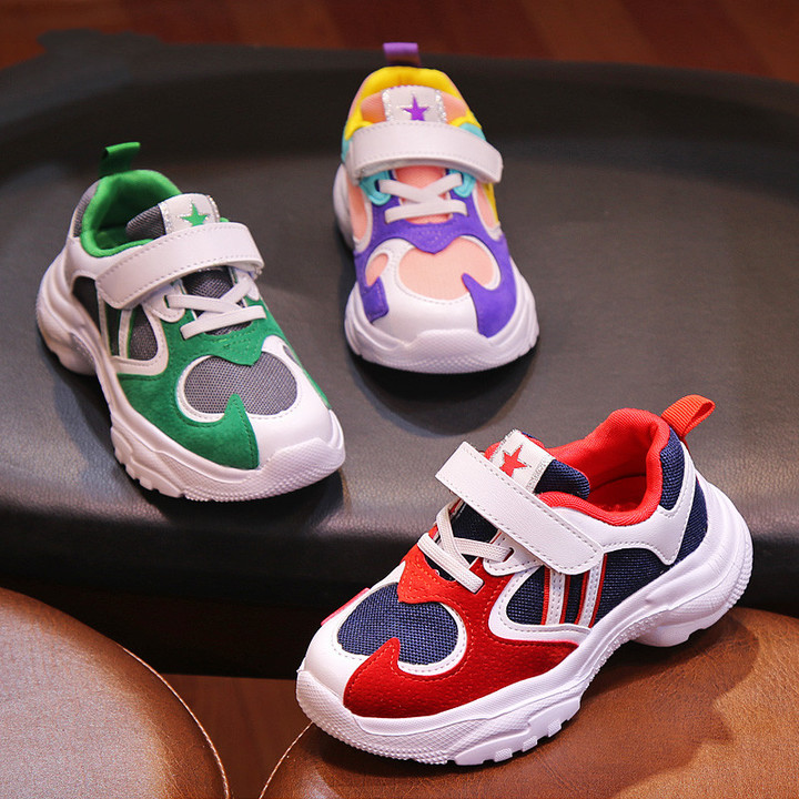 Children's Shoes Boys'Sports Shoes Children's Coloured Girls' New Breathable Mesh Leisure Shoes Red 24
