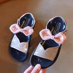 New Kids'Sandals, Girls' Beach Shoes, Princess's Butterfly-knot Softsoles pink 27