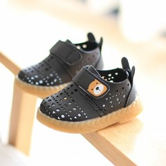 Boy Shoes Girls Hollow Single Shoes Cartoon Soft-soled Breathable Sandals 0-1-2 Years Old Baby Shoes Black 16