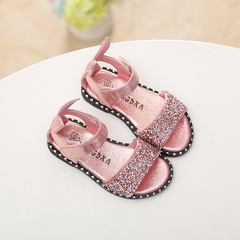 Children's sandals, girl's shoes, baby's shoes, sequins, diamonds, open-toed sandals, Roman shoes pink 27