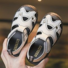 Children's hollow sandals, anti-skid boys'beach shoes, Korean version of leisure fashion sandals Beige white 22