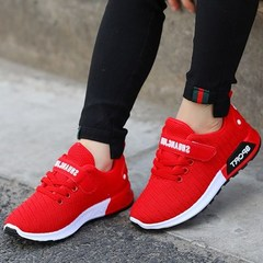New 2019 Korean Children's Shoes, Girls'Sports Shoes, Mesh Boys' Breathable Casual Shoes red 25