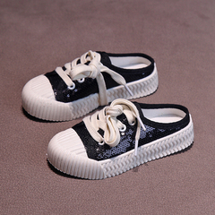 Girl Shoes ,Korean version of children's soft-soled sneakers,Casual shoes,Semi-slippers with sequins black 26