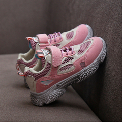 Girl Sports Shoes Boy's White Shoes Children's breathable net shoes Baby shoes Kids running shoes pink 27