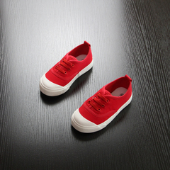 Children's canvas shoes boys'little white shoes baby shoes girls' shoes casual Kids shoes red 18