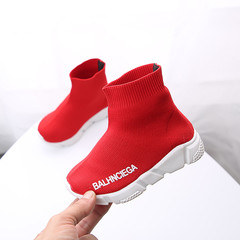Children's socks and shoes Boy's sneakers Student running shoes Girls'soft sole casual single shoes red 26