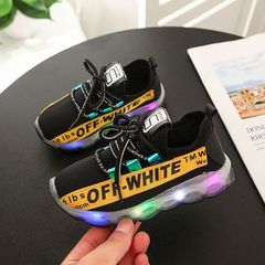 Children's sports shoes Boys Girls Fashion Shoes Kids Luminescent shoes Students Casual shoes lamp black 22