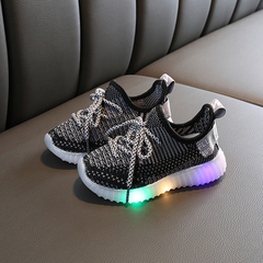 Children's Flash Coconut Shoes Boy's shoes New Girl Knitted Mesh Air-permeable Kids Sports Shoes black 21