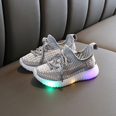 Children's Flash Coconut Shoes Boy's shoes New Girl Knitted Mesh Air-permeable Kids Sports Shoes gray 25