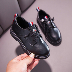 Children's leather shoes Boys'Single Shoes Baby Shoes Girls'leisure shoes Students shoes Kids shoes black1 27