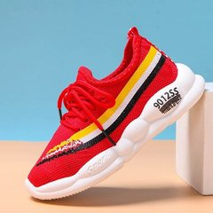 Girls and boys Sports Shoes  Children's casual Student net shoes  Kids breathable running shoes red 26
