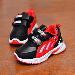 Children's sports shoes Boy's Leather shoes Girls mesh single shoes Students'leisure Kids running red 28