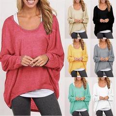 Long-sleeved loose irregular T-shirt women's knitted sweater black S