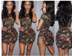 European and American round neck irregular hem camouflage tight dress S picture