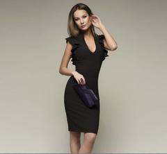 European and American deep V-neck lotus leaf sleeve pencil dress s BLACK