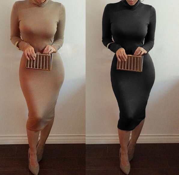 European and American long-sleeved sexy women's nightclub solid color dress xl black