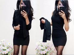 Solid color professional suit dress two-piece women's dress s black