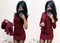 Solid color professional suit dress two-piece women's dress l wine red