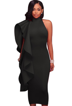 Solid color women's ruffled midi dress s black